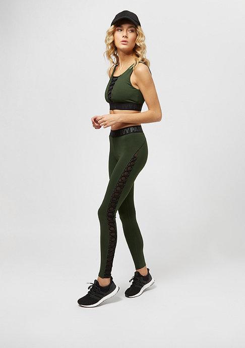 IVY PARK Mesh Lace Up Bra dark green