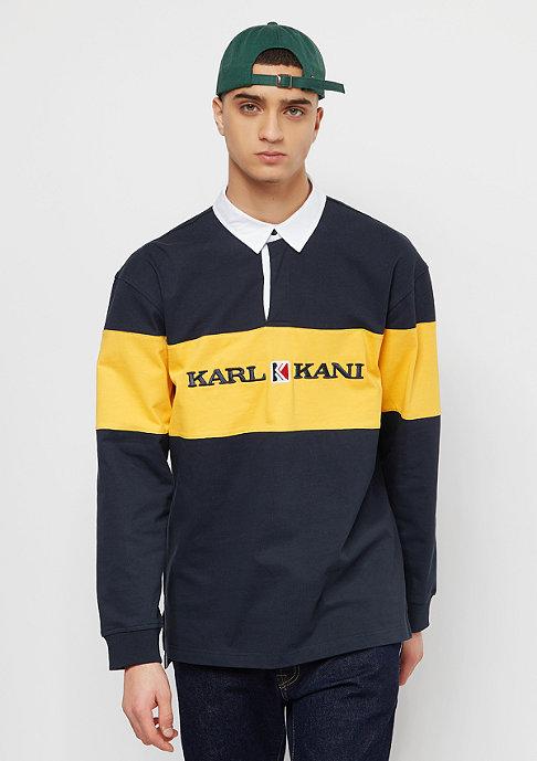 Herren Block Rugby Shirt blue yellow blau |