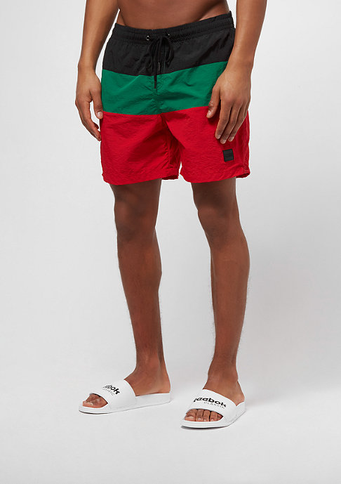 Urban Classics Bañador - firered/black/green