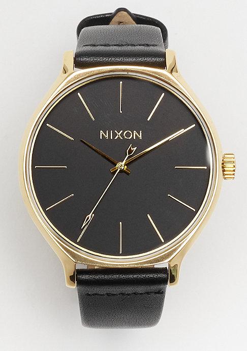 Nixon Clique Leather gold black