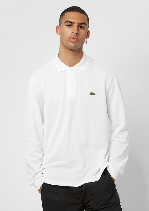 Lacoste Long sleeved ribbed collar shirt weiss