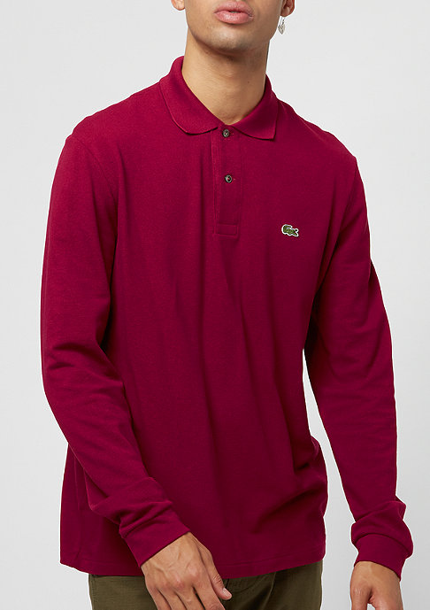 Lacoste Long sleeved ribbed collar shirt bordeux