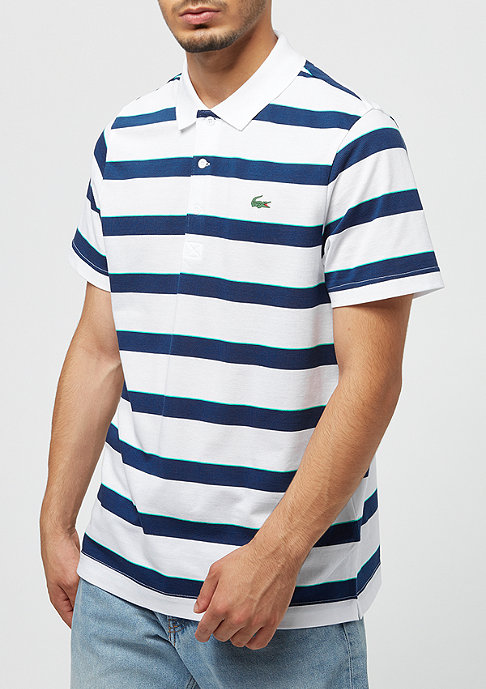 Lacoste Short Sleeved Ribbed Collar Shirt white inkwell-papeete
