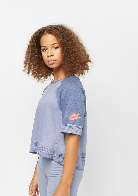 NIKE G NSW TOP SS CROP ashen slate/diffused blue/htr/lava glow