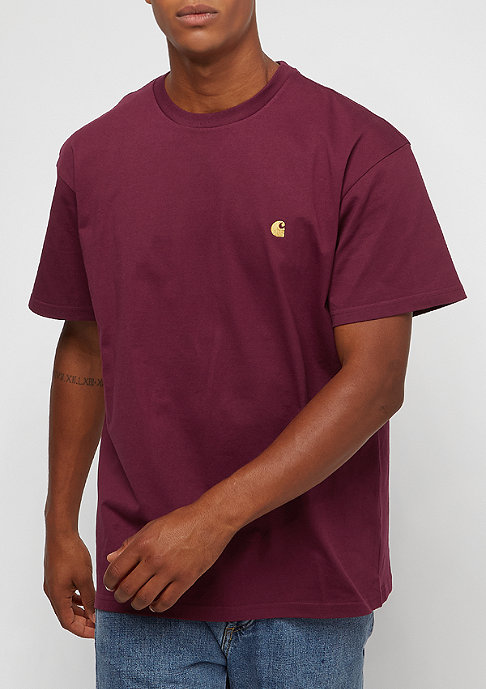 Carhartt WIP S/S Chase mulberry/gold