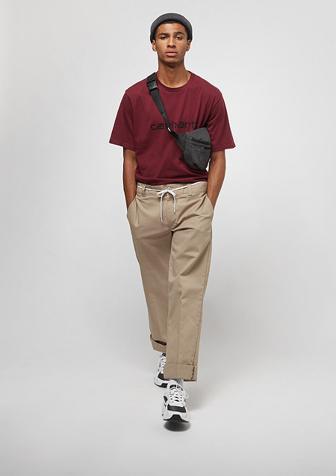 Carhartt WIP S/S Script mulberry/ white