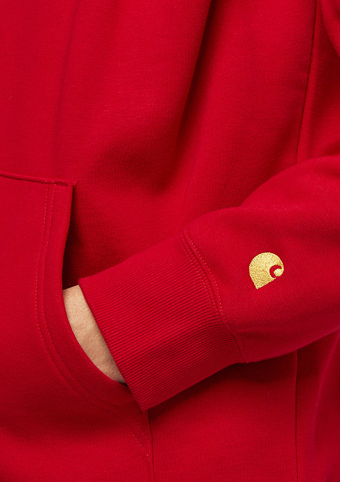 Carhartt WIP Chase Neck Zip cardinal / gold