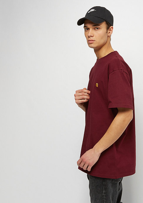Carhartt WIP S/S Chase cranberry / gold