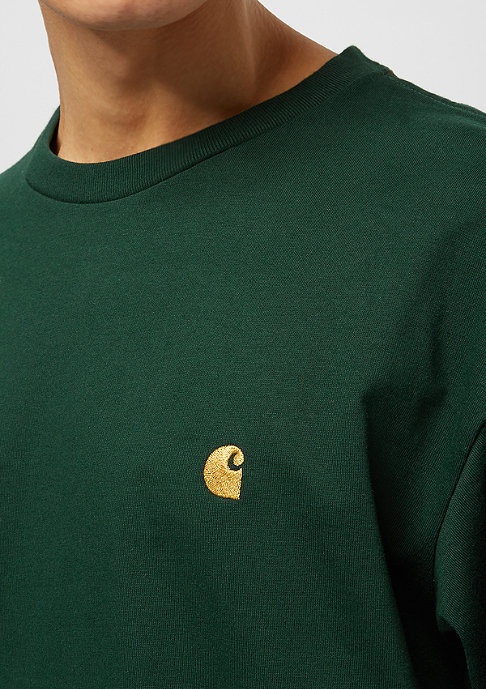 Carhartt WIP L/S Chase bottle green /gold