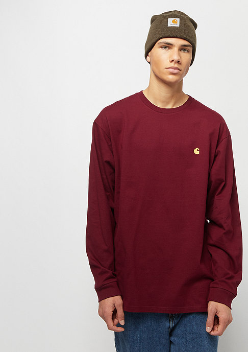 Carhartt WIP L/S Chase cranberry / gold