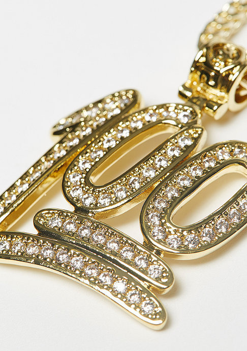 King Ice CZ 100 Points Emoji necklace Gold plated