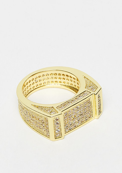 King Ice Rectangle CZ Ring Gold plated 11US
