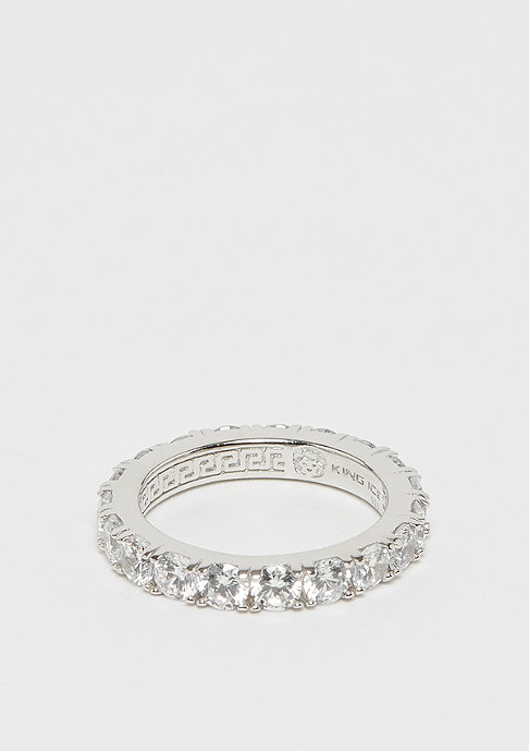 King Ice 925er Sterling Silver Single Row Ring rhodium plated - size 10