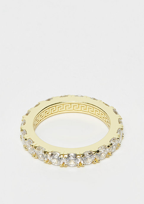 King Ice 925er Sterling Silver Single Row Ring Gold plated - size 8