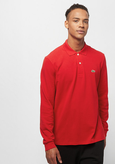Lacoste Long sleeved ribbed collar shirt red