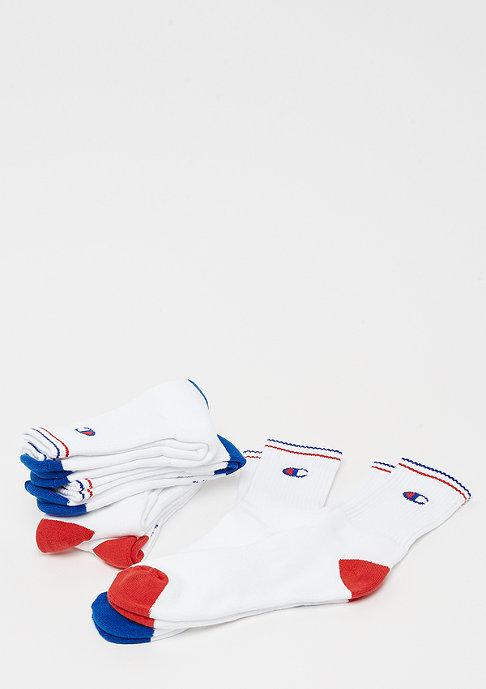 Champion 6x Crew socks performance White logo blue/red