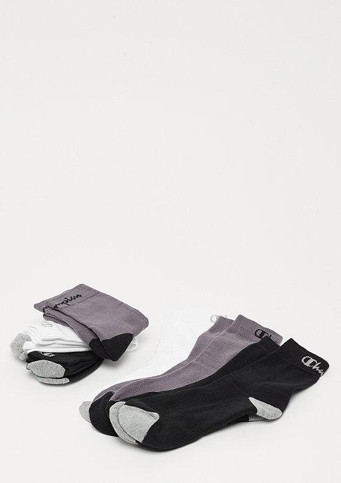 Champion 6x Crew socks performance black/white/dark grey