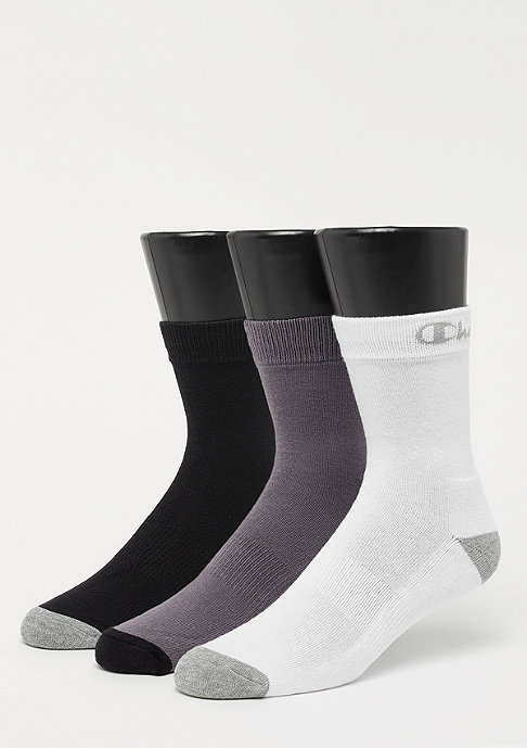 Champion 3x Crew socks performance black/white/dark grey