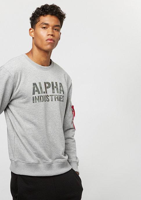 Alpha Industries Camo Print Sweater grey heather/woodland