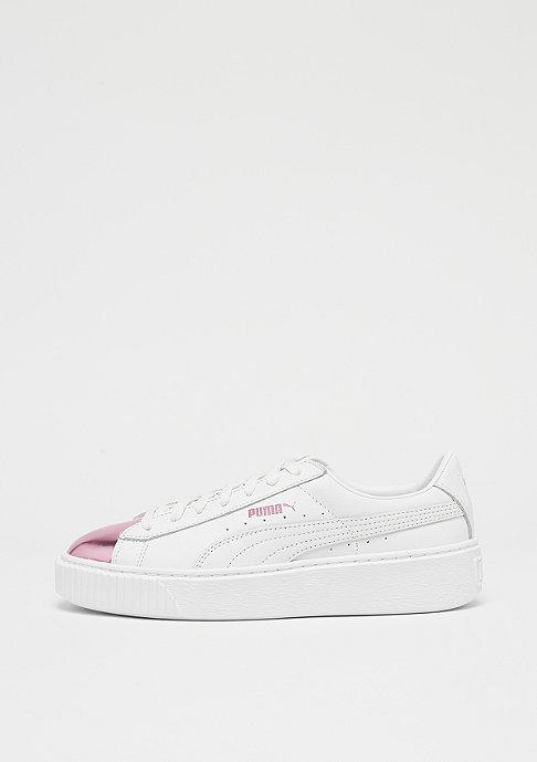 Puma Basket Platform Metallic white pink metallic