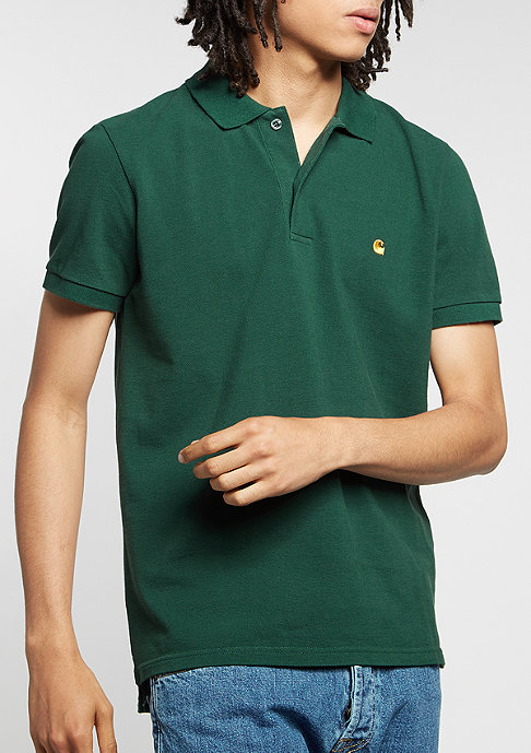 Carhartt WIP Polo Slim Fit conifer/gold
