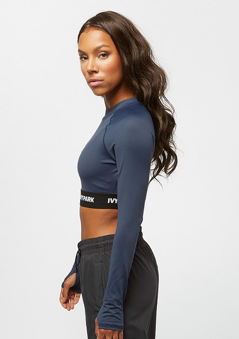 IVY PARK LS Logo Tape Crop Top midnight navy