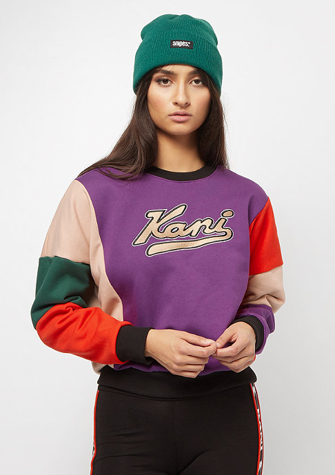 Karl Kani College Block Crew purple beige red green