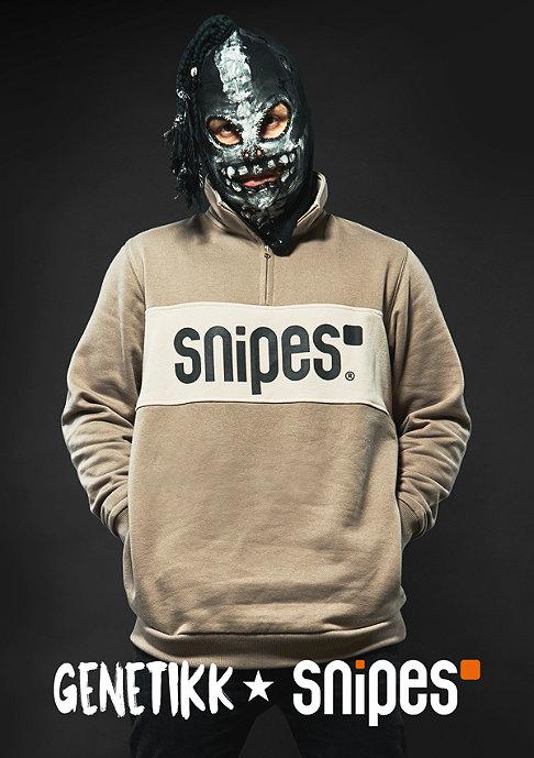 SNIPES Sweatshirt Block Troyer lt brown/white
