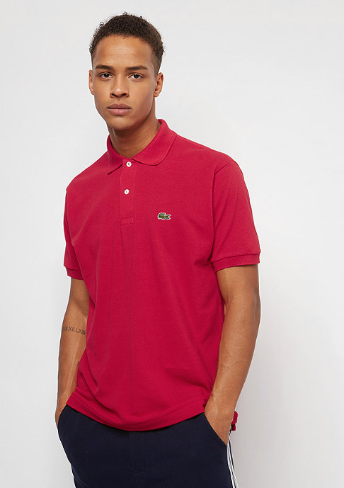 Lacoste Short Sleeved Ribbed Collar Shirt red
