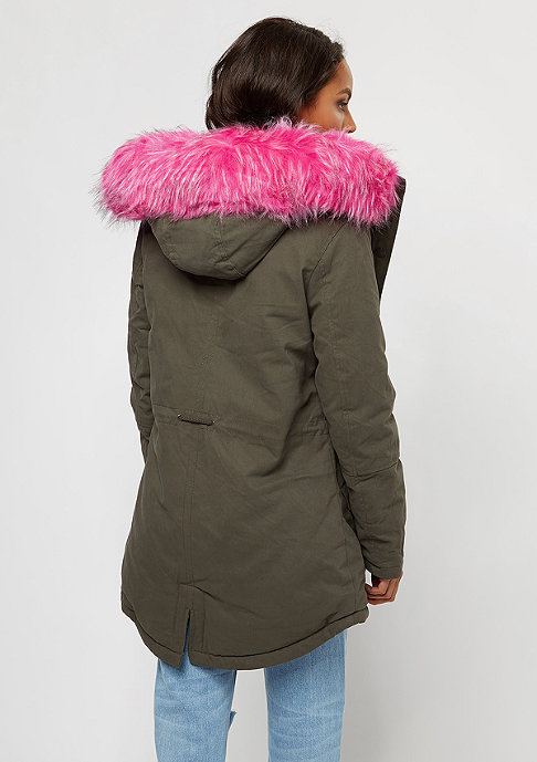 Sixth June Fur Parka khaki/pink