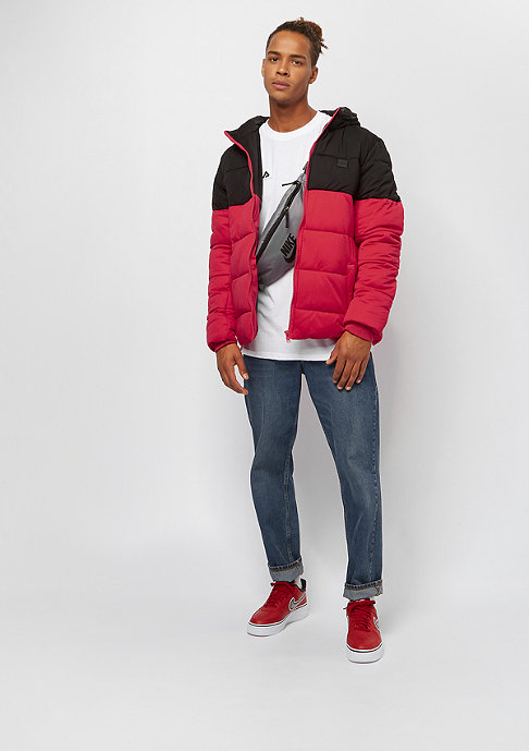 Urban Classics Hooded 2-Tone Puffer fire red/black
