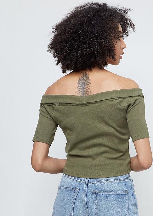Urban Classics Ladies Off Shoulder Cross Rib Tee olive