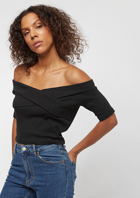 Urban Classics Ladies Off Shoulder Cross Rib Tee black