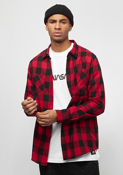Urban Classics Hemd Checked blk/red