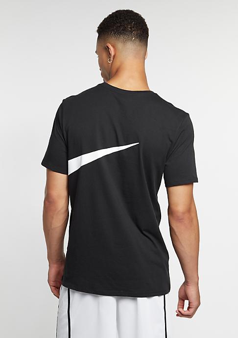 NIKE T-Shirt Oversize Swoosh black/black/white