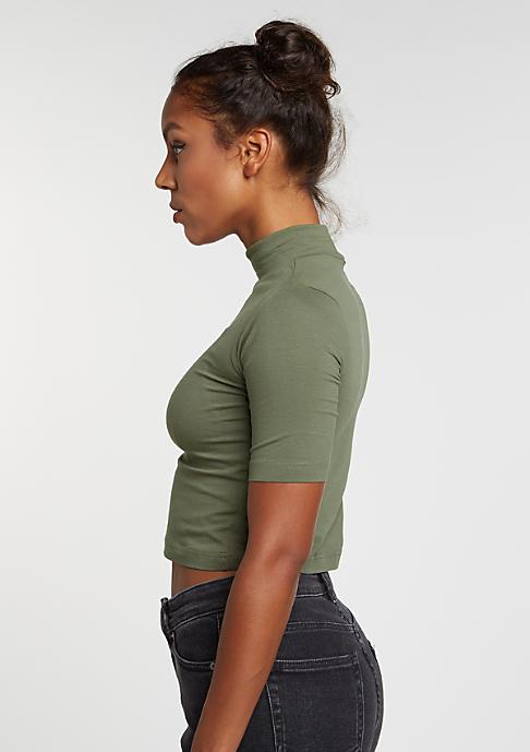 Urban Classics T-Shirt Cropped Turtleneck olive