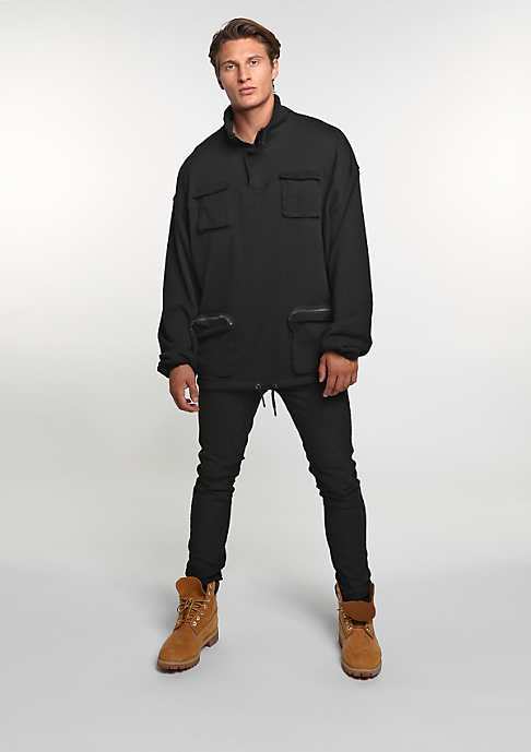 Future Past Hooded-Zipper Pocket Troyer black