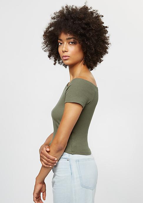 Urban Classics Ladies Off Shoulder Rib olive