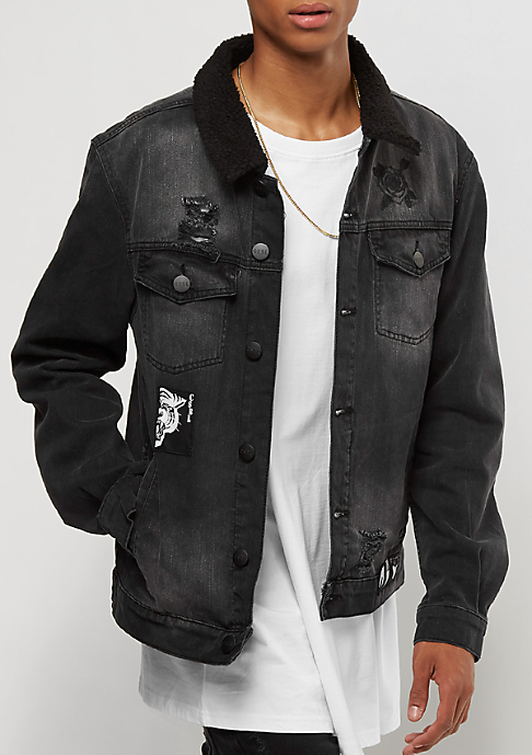 Cayler & Sons C&S ALLDD Denim Jacket Patched Classic Sherpa faded black