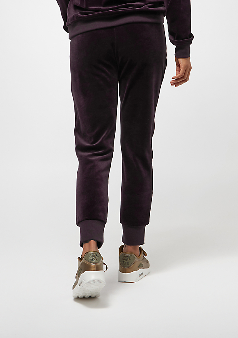 NIKE Pant Velour port wine/metallic gold