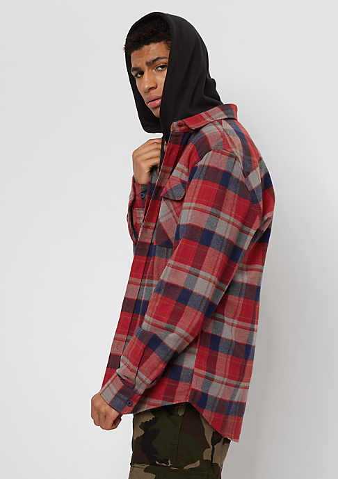 Brixton Bowery Flannel red/heather grey/navy