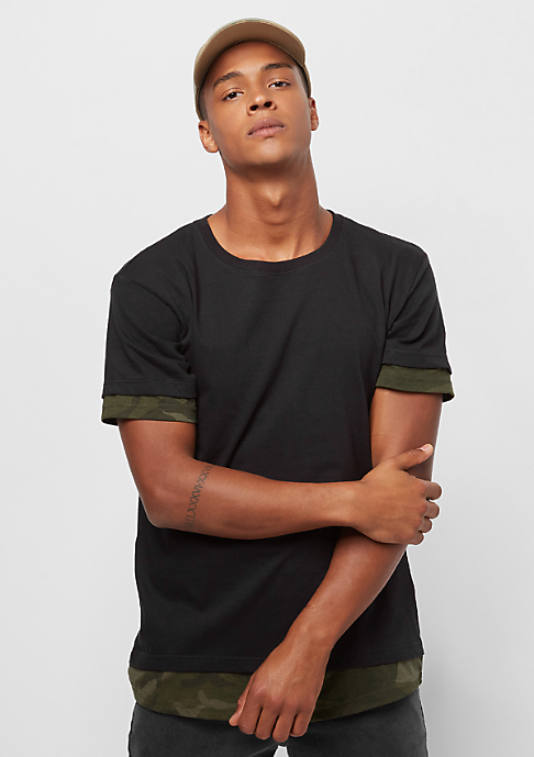 Urban Classics Long Shaped Camo Inset black/olive