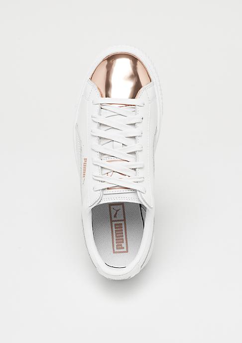 Puma Basket Platform Metallic white rose gold