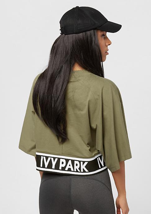 IVY PARK Logo Tape Boxy Crop Crew dark green