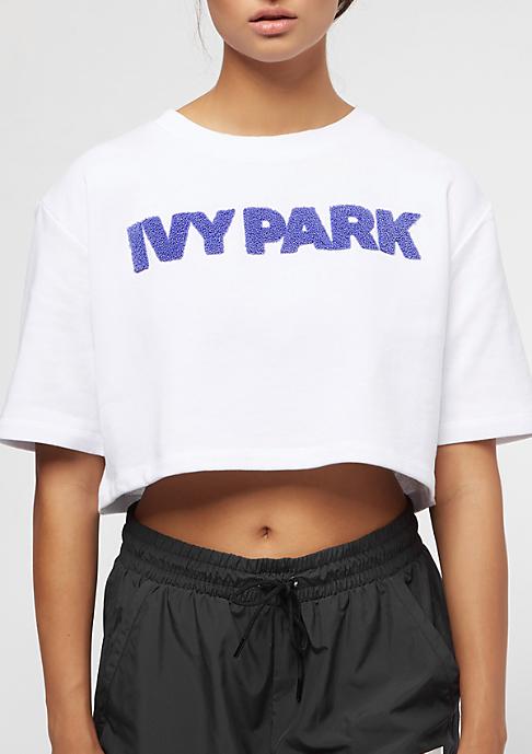 IVY PARK Chenille Logo Crop Wedgewood Logo white