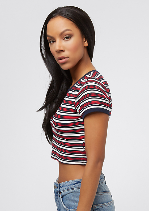Urban Classics Rib Stripe Cropped white/navy/firered