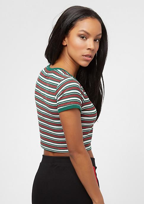 Urban Classics Rib Stripe Cropped white/green/firered
