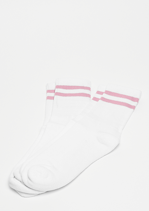 Urban Classics 2-Stripe Socks white/pink