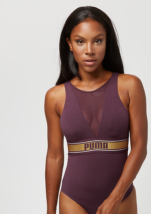 Puma High Neck Bodysuit bordeaux/gold
