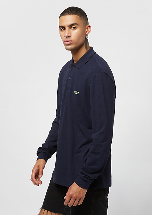 Lacoste Long sleeved ribbed collar shirt navy blue